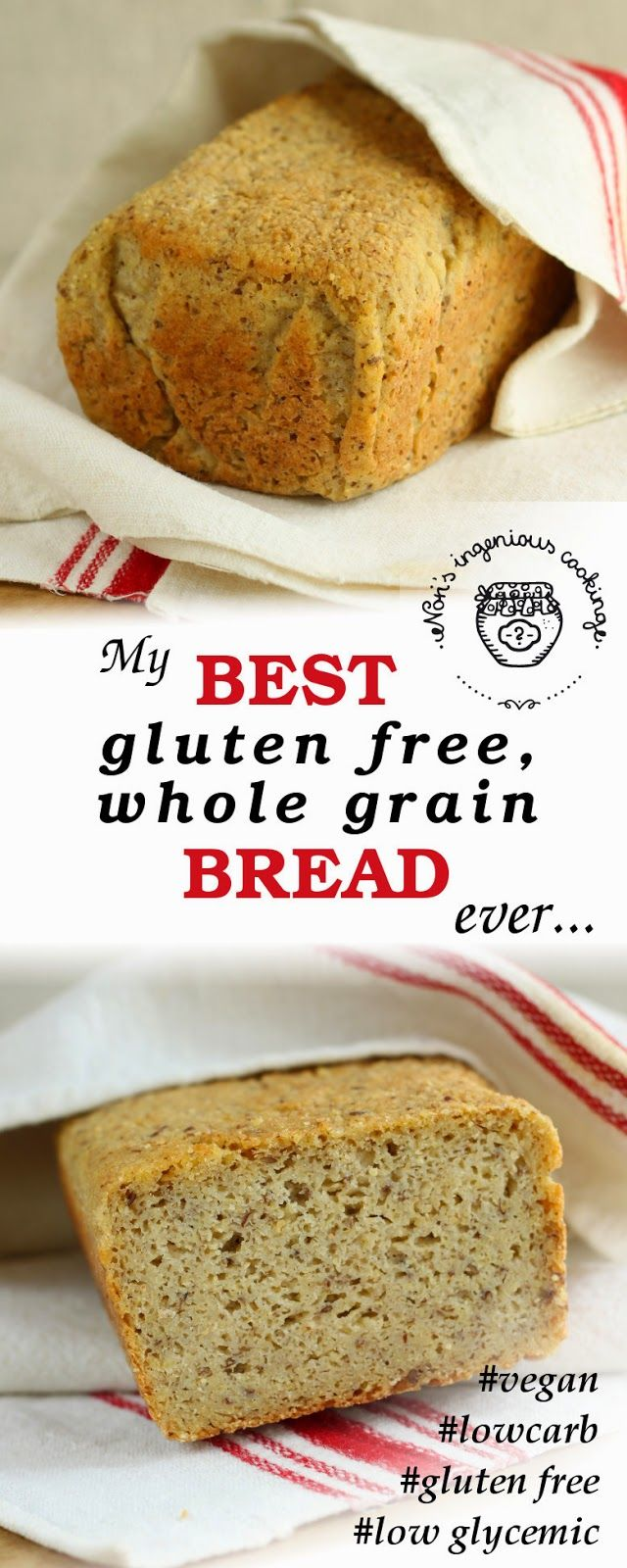 My best #glutenfree, #wholegrain #bread, ever! (#vegan, #lowglycemic, #healthy, #soyfree, #eggfree, #top8free recipe)