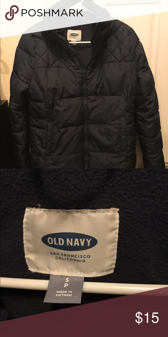 New Navy puffer coat Worn once Old Navy Puffer coat, dark blue color. Very warm coat with rain resistant outside and soft cozy inside Old Navy Jackets & Coats Puffers