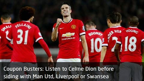 Coupon Busters Listen to Celine Dion before siding with Man Utd