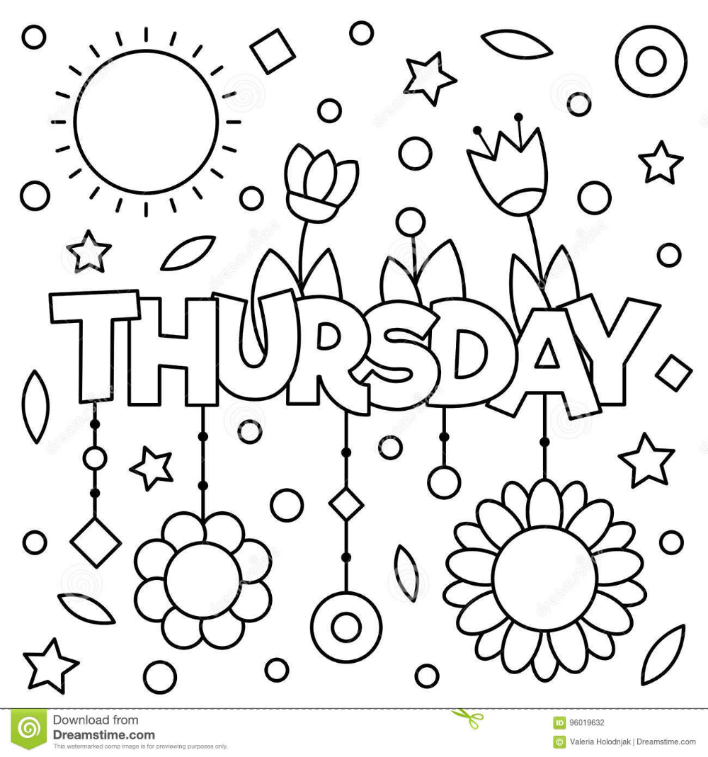 Illustration About Coloring Page Vector Illustration Of A Wek Day Thursday Illustration Of Leaves Coloring Pages Cute Coloring Pages New Year Coloring Pages