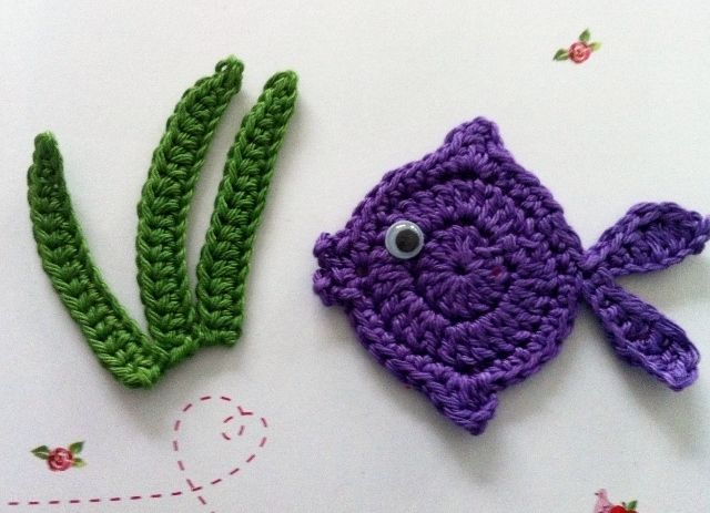 Applikation Häkelapplikation Fisch Crochetknit Applique