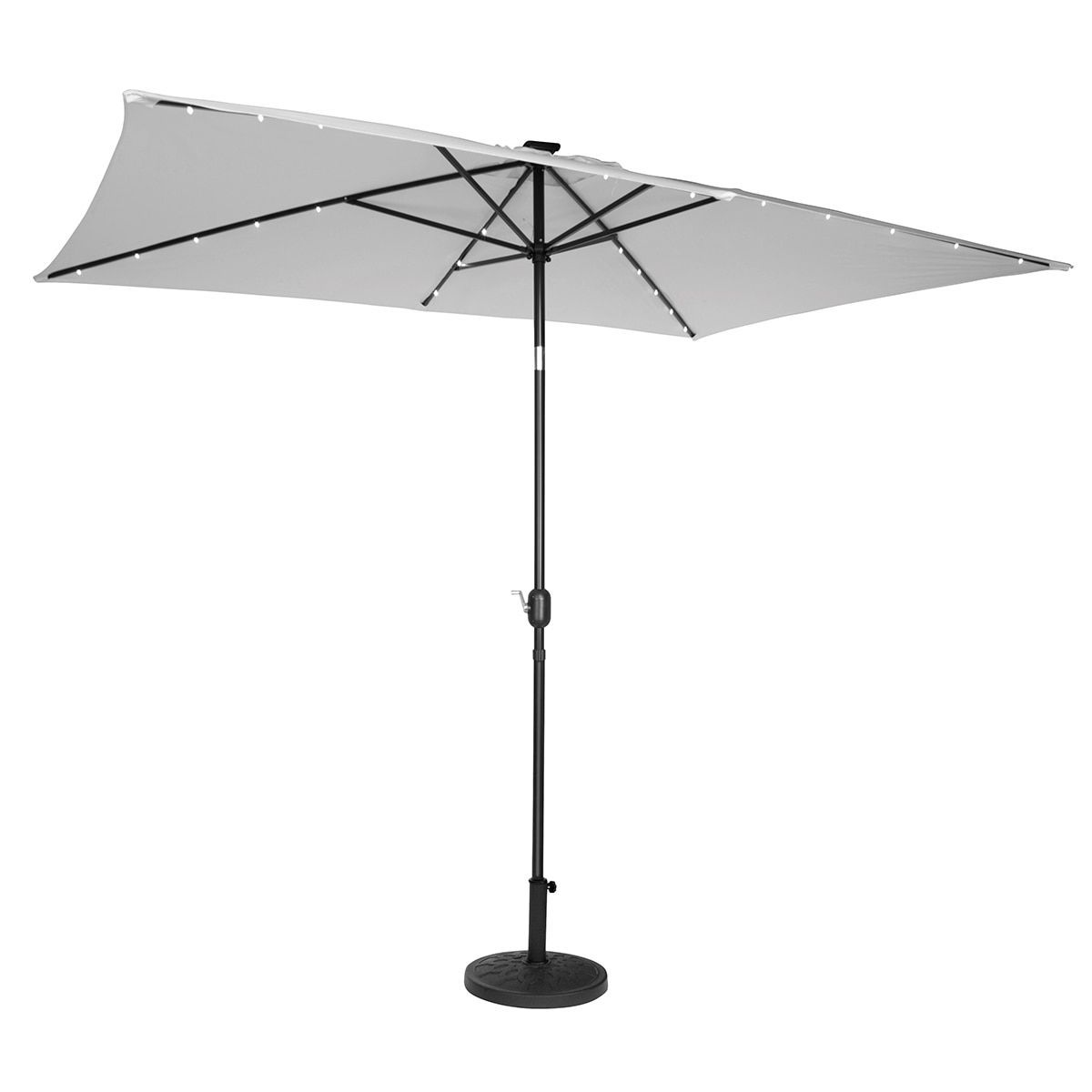 Rectangular Patio Umbrella With Solar Lights Trademark Innovations Grey Polyester Steel 10Inch Rectangular Solar