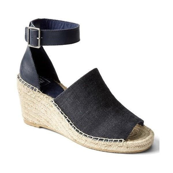 Gap Women Denim Espadrille Wedges ($65) ❤ liked on Polyvore featuring shoes,  sandals
