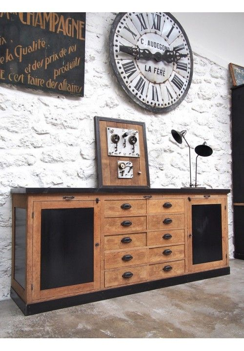 Enfilade de mercerie vers 1940 industriel rustique look d co diy home decor furniture - Renovation meuble industriel ...