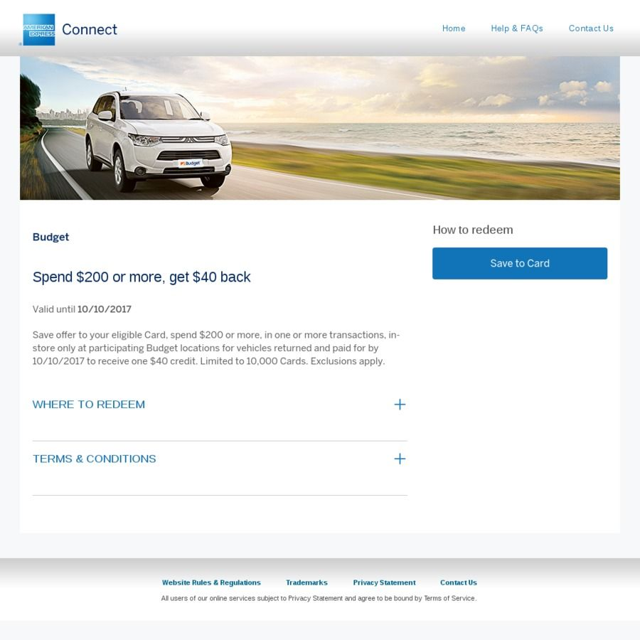 Amex Statement Credit Budget Car Rental Spend  Get