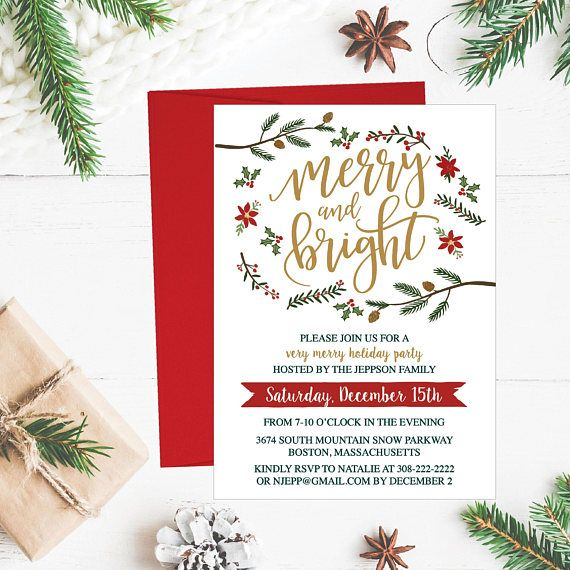 Christmas Party Invitation Template, Rustic Winter Wreath and Gold
