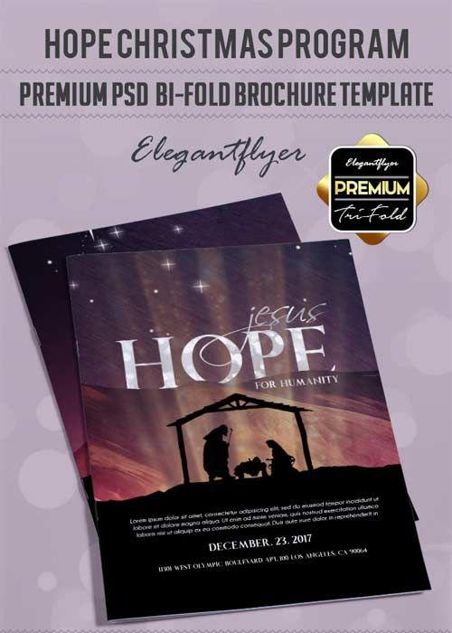 Hope Christmas Program V3 Premium Bi-Fold PSD Brochure Template - free report cover templates