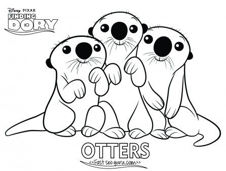 Printables Cartoon Finding Dory Otters Coloring Page For Kidsfree