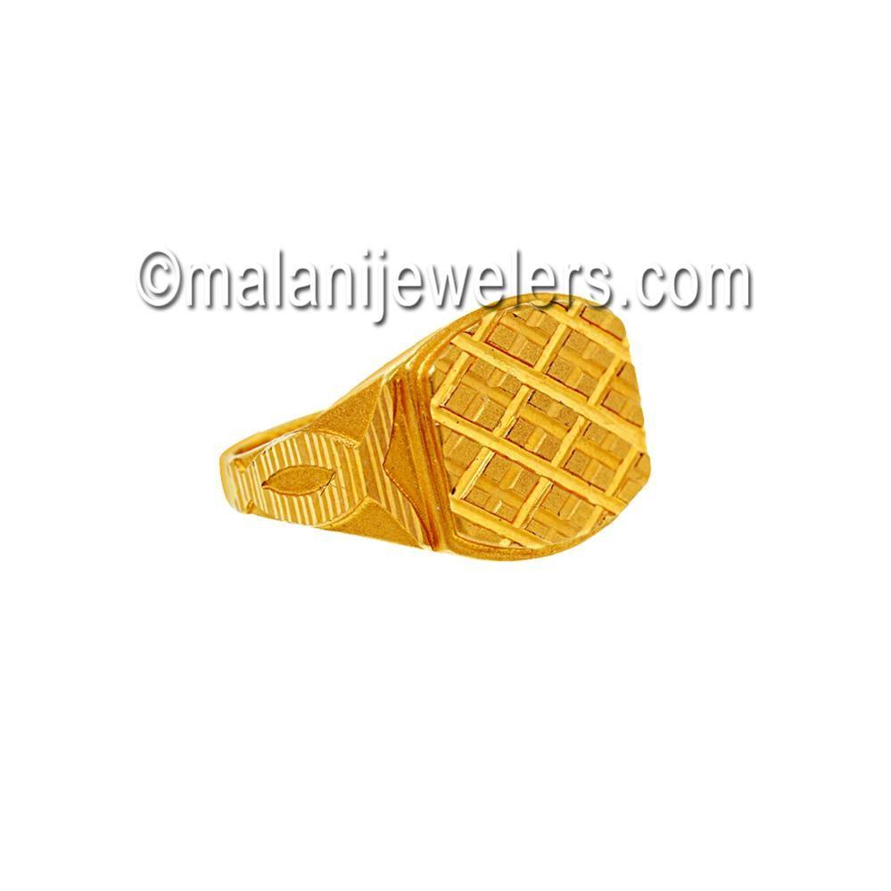 22 Karat Gold Fancy Matt-finishing Ring. SKU # 73-02815 http://www.malanijewelers.com/mensrings.aspx?size=21