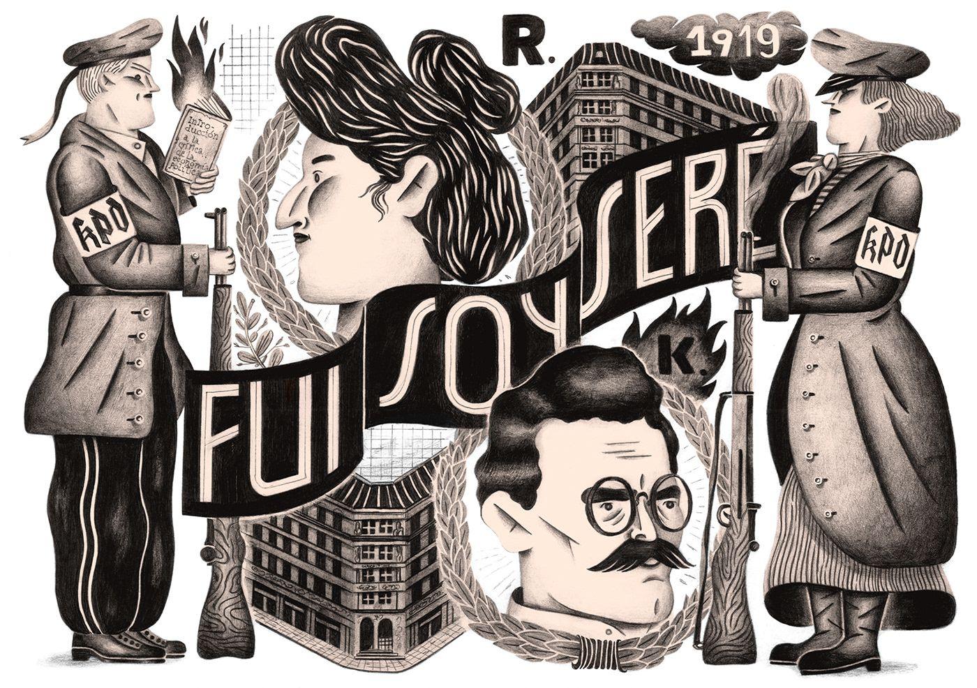 Rosa Luxemburg On Behance Illustration Character Design Illustration Design