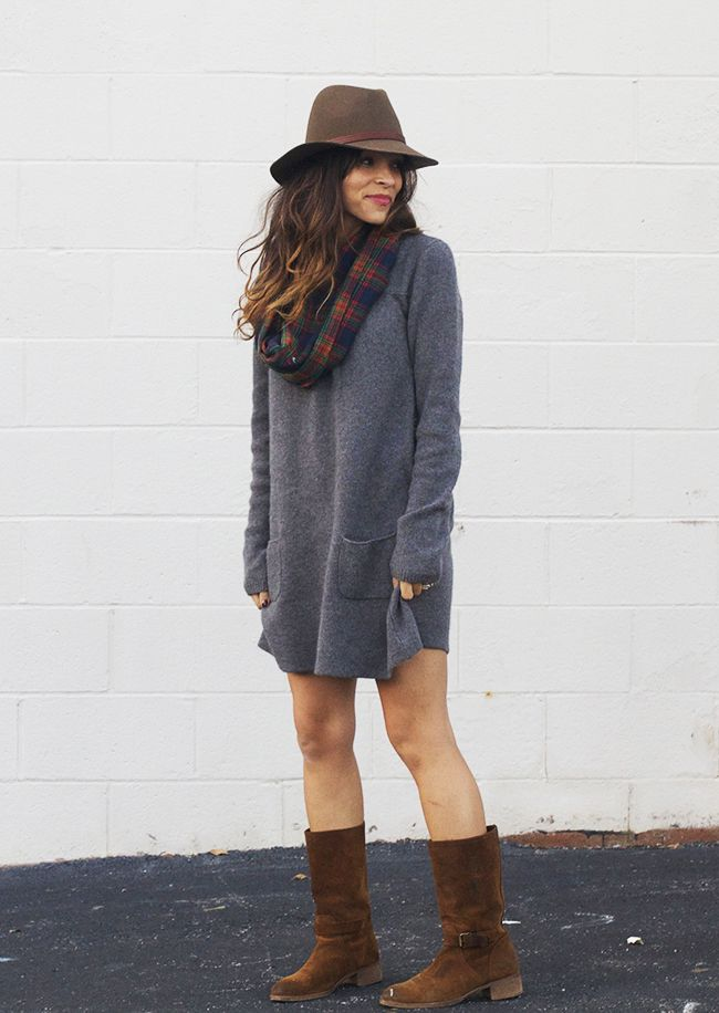 Love boots and dresses.  A little cozy, a little classic. Love the scarf. I don't think sheath dresses work quite that well on me but love the idea of a sweater dress.