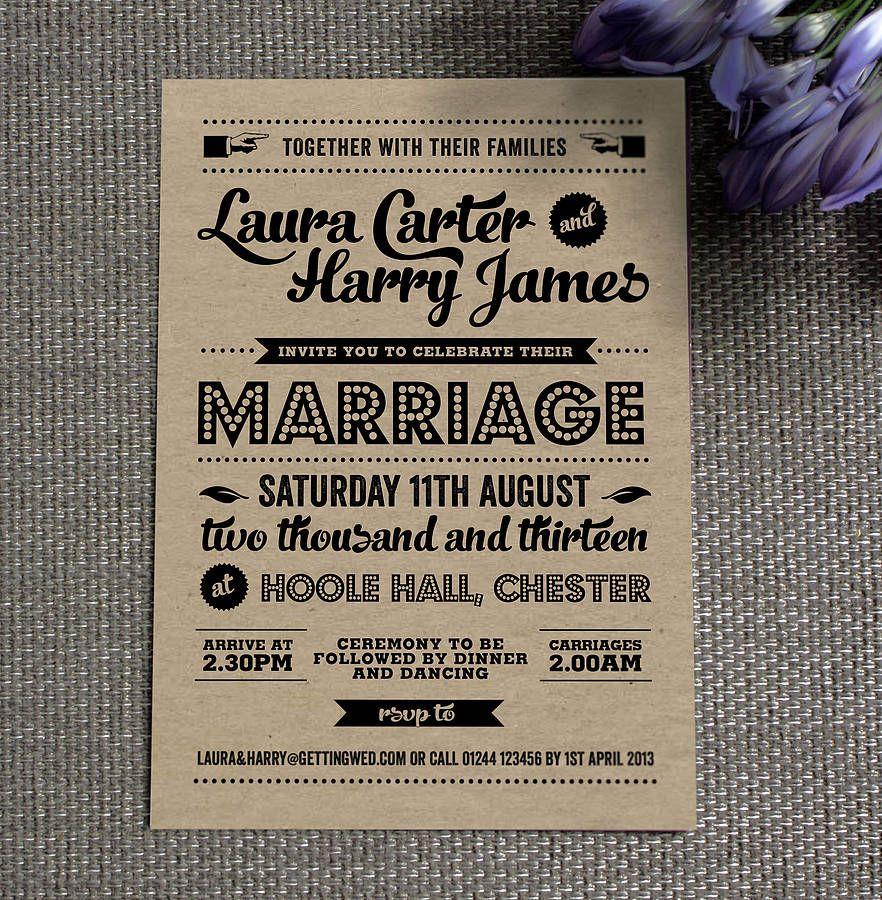 Invitation Vintage Wedding In 2020 Retro Wedding Invitations Kraft Wedding Invitations Vintage Wedding Invitations