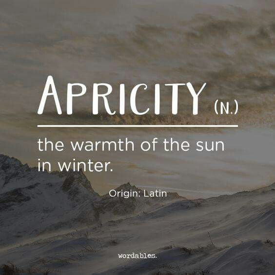 """According to Facebook's Analytical Grammar, """" It's Word Wednesday! APRICITY appears to have entered our language in 1623, when Henry Cockeram recorded (or possibly invented) it for his dictionary """"The English Dictionary; or, An Interpreter of Hard English Words."""" Despite the fact that it is a delightful word for a delightful thing, it never quite caught on, and will not be found in any modern dictionary aside of the Oxford English Dictionary."""""""