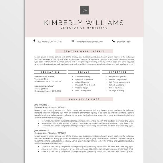 Professional Resume Template, CV Template for MS Word, Creative - ms word resume templates