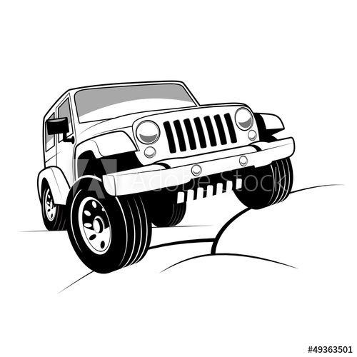 Monochrome Detailed Cartoon Off Road Jeep Climbing Rocks Offroad