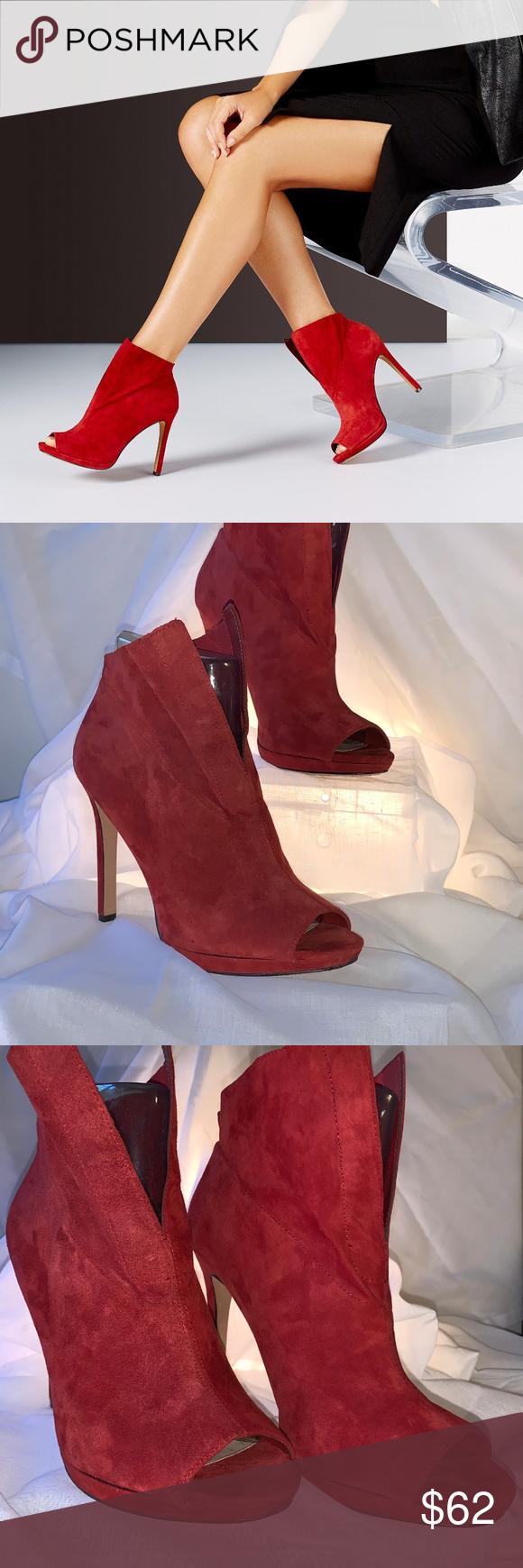 583443d65731 Vince Camuto Red Suede Bootie Shootie - SZ 10 M Sexy Valentine Shoe Bootie