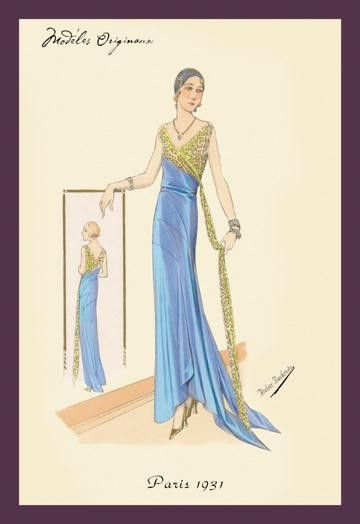 Evening Gown in Blue and Gold 20x30 poster