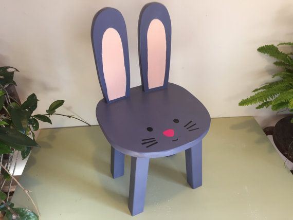 Bunny Chair Wooden Animal Stool Purple Gray Rabbit