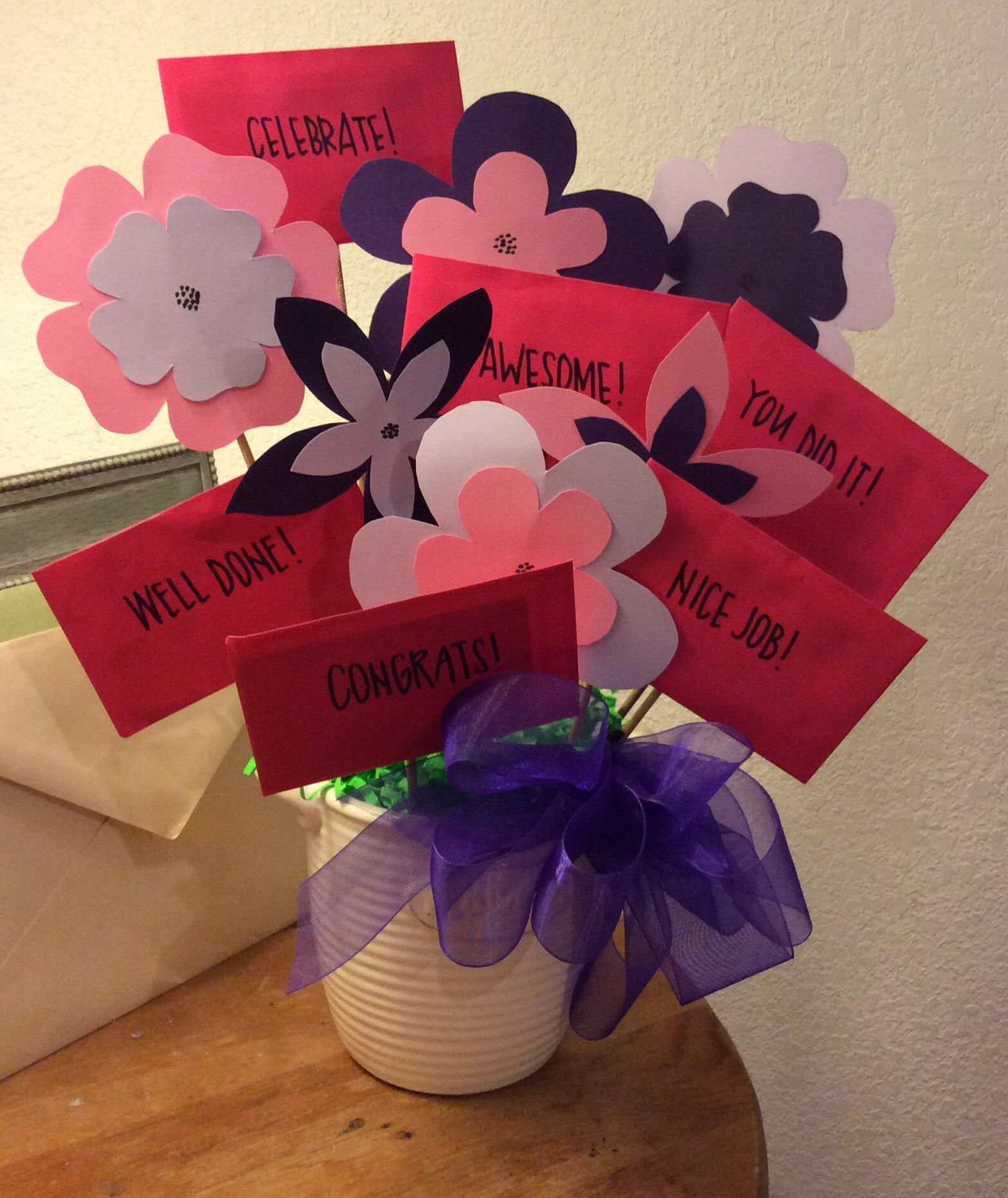 Diy gift flower and gift card bouquet for my niece who