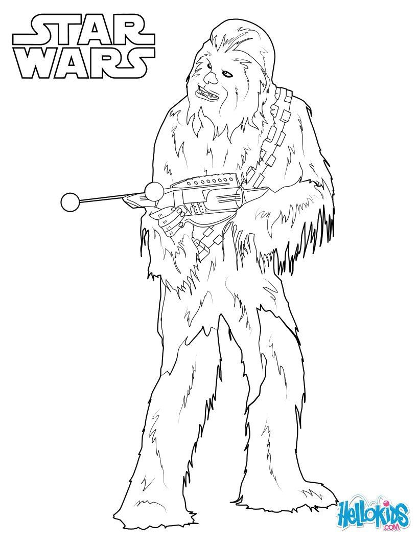 Chewbacca coloring sheet from the new Star Wars movie The