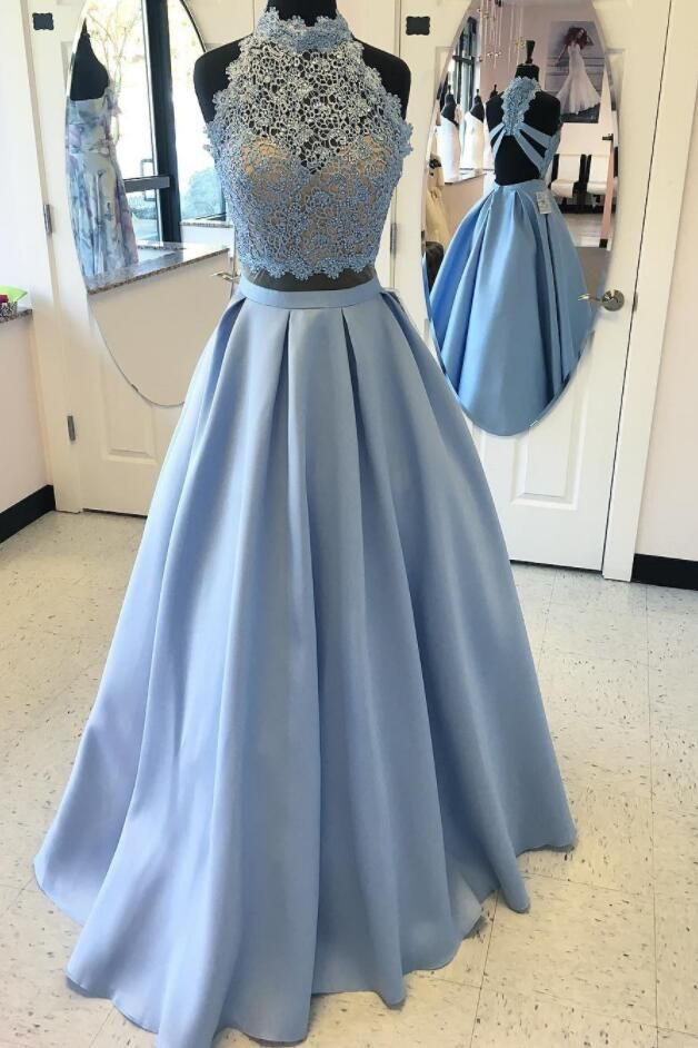 aebba43346f Two-Piece Formal Dress Featuring Lace Halter Neck Crop Top And Floor Length  Ruffled A-Line Skirt
