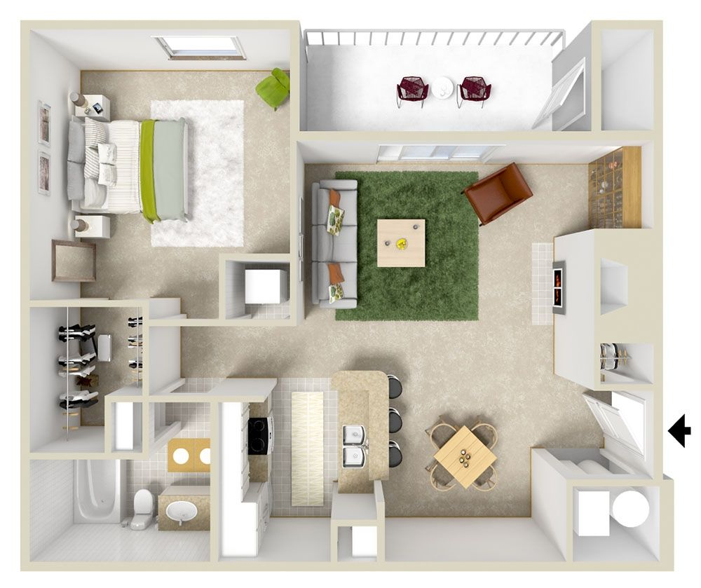 One Bedroom Floorplan Floor Plans Apartment Plans One Bedroom Apartment