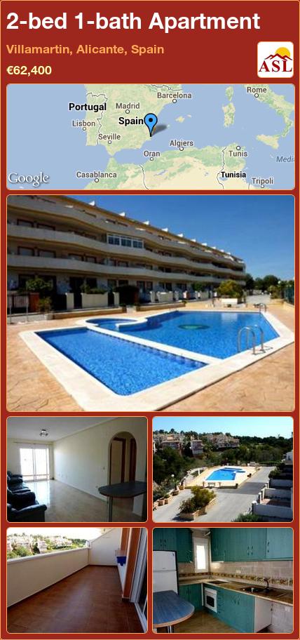 2-bed 1-bath Apartment in Villamartin, Alicante, Spain ►€62,400 #PropertyForSaleInSpain