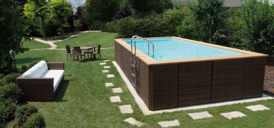 Piscina fuori terra in legno rettangolare piscine fuori terra pinterest small pools - Piccole piscine da giardino ...