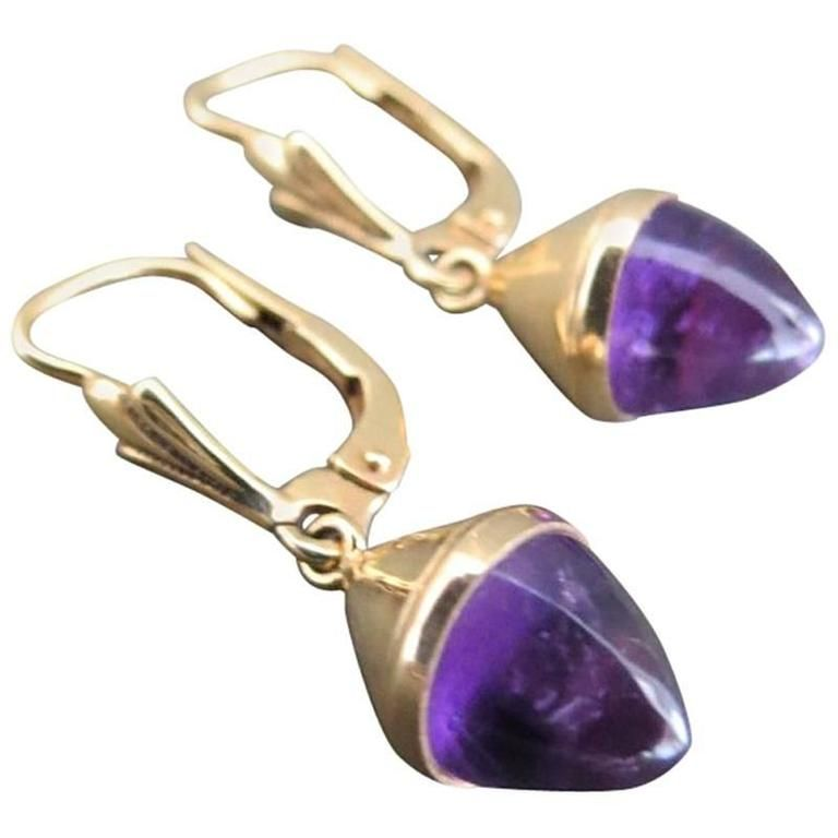 Vintage Danish 14k Gold Amethyst Drop Earrings Modernist 14ct 585 From A Unique Collection Of At