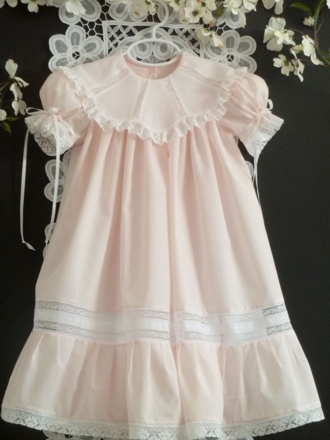 Heirloom Girls Dress With White Voile Scalloped Collar
