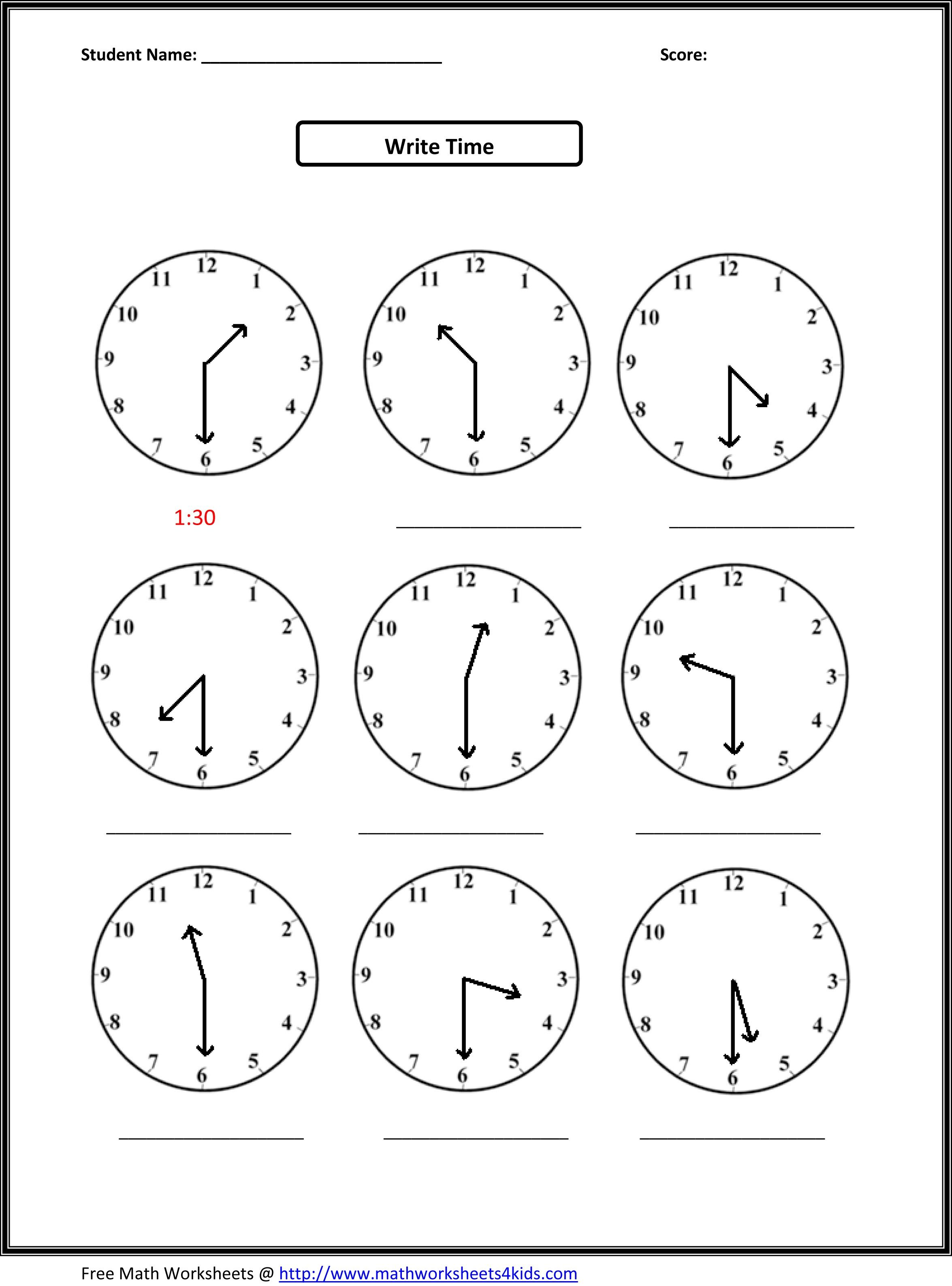 2nd Grade Free Worksheets Math Math Time Measurement