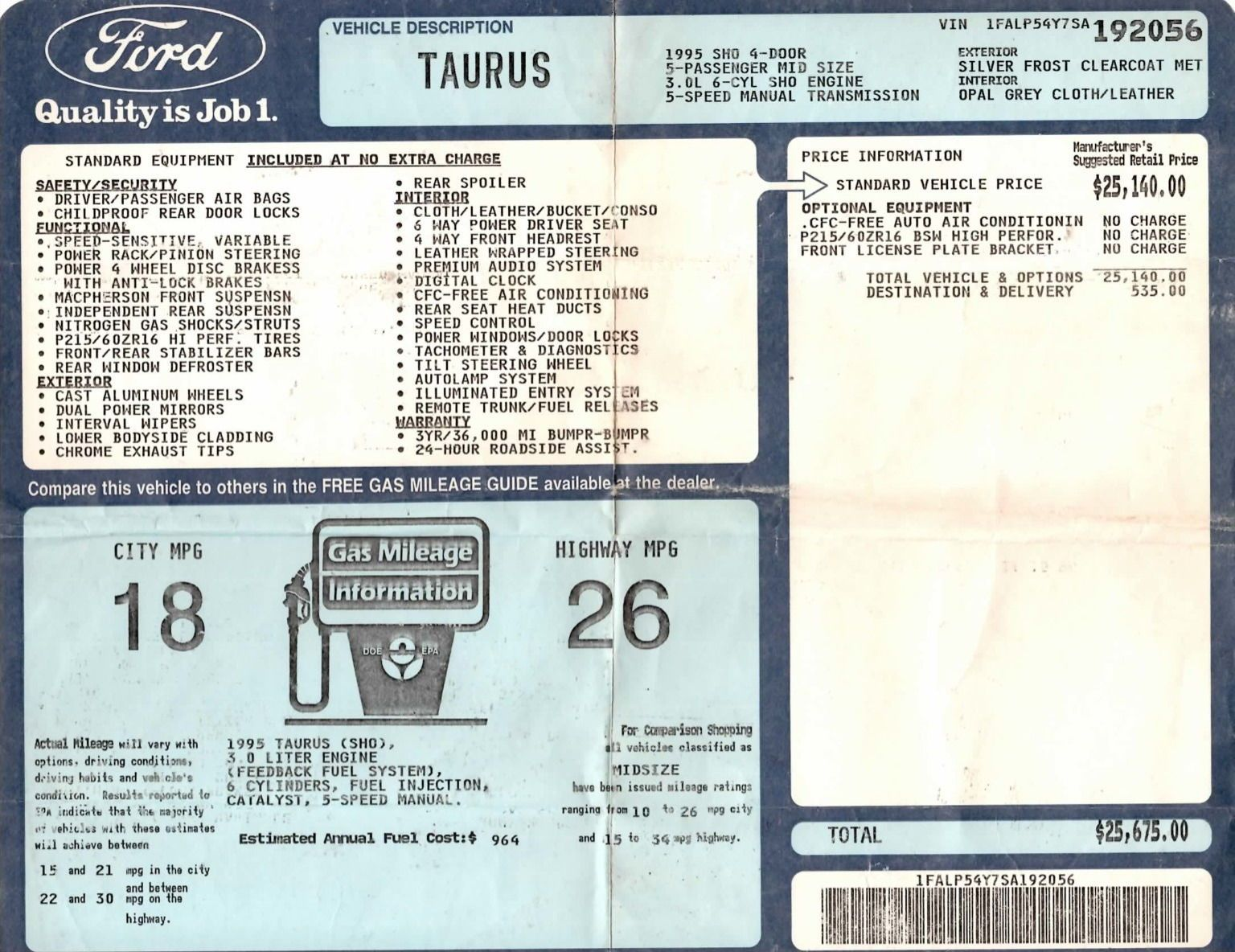 1995 Ford Taurus Sho Window Sticker Ford Taurus Sho Ford Taurus