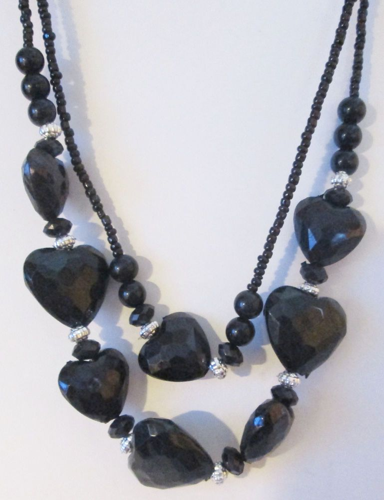 US SELLER Jewelry Set Black Hearts And Beads Necklace