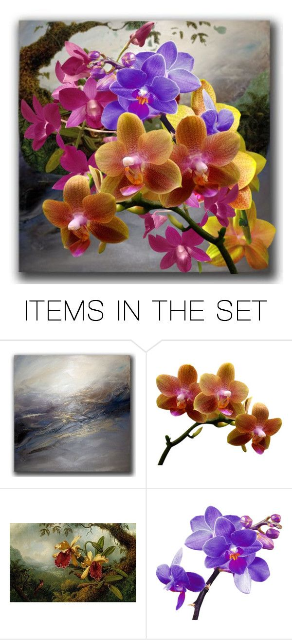 """Misty Mountain Orchids"" by kathy-martenson-sanko ❤ liked on Polyvore featuring art"