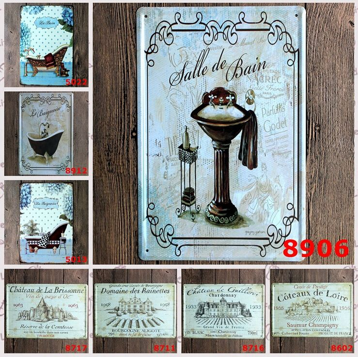 Bathroom Signs Wholesale 20x30cm 5pcs/lot bathtub vintage tin signs hotel home bathroom