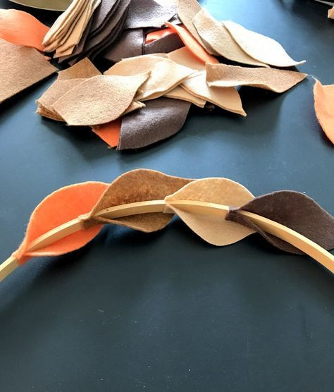 DIY Fall Felt Wreath  An easy step by step tutorial is part of Felt wreath - How to make a beautiful Fall wreath made from felt leaves and an embroidery hoop  You can customize this in the colors of your preference