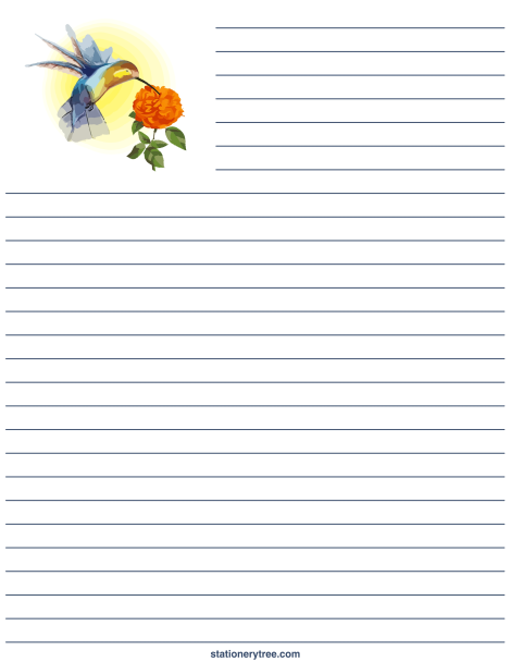 Printable Hummingbird Stationery And Writing Paper