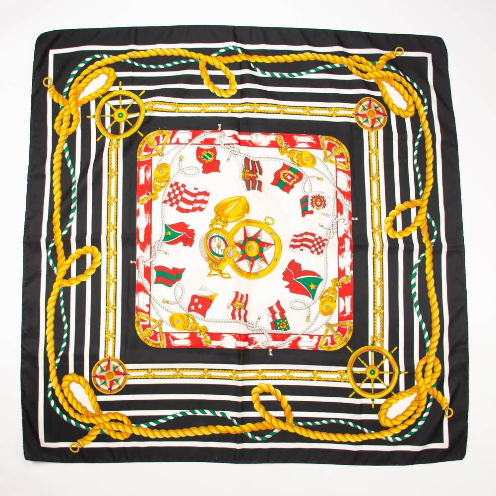 216b9a8507adf Nautical Black Gold Green Red Scarf Vintage Accessories Rich print on  nautical theme with anchors, ropes, flag, compass, boat steering wheel,  stripes; ...