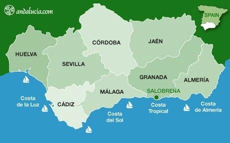 Mapa De Andalucía Costa De La Luz Costa De Almeria Almería