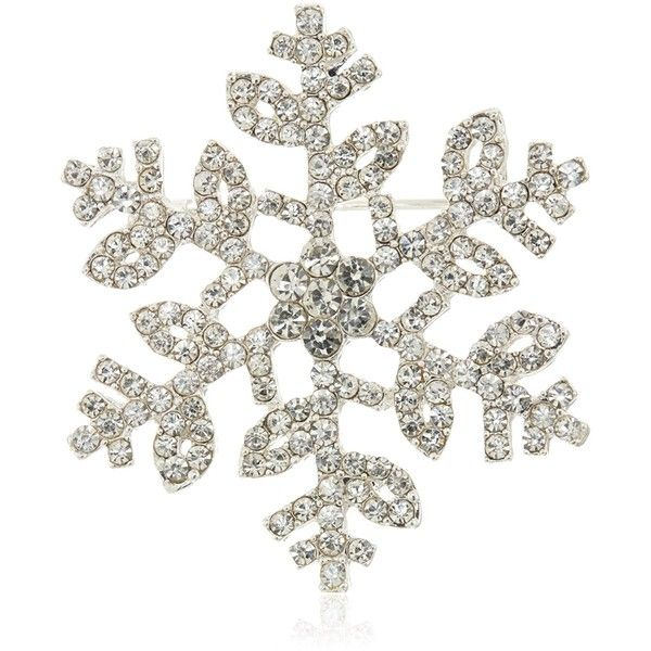 Napier Boxed Silver-Tone and Crystal Snowflake Brooches and Pin ($16) ❤ liked on Polyvore featuring jewelry, brooches, crystal jewellery, silvertone jewelry, napier, crystal brooch and crystal snowflake jewelry