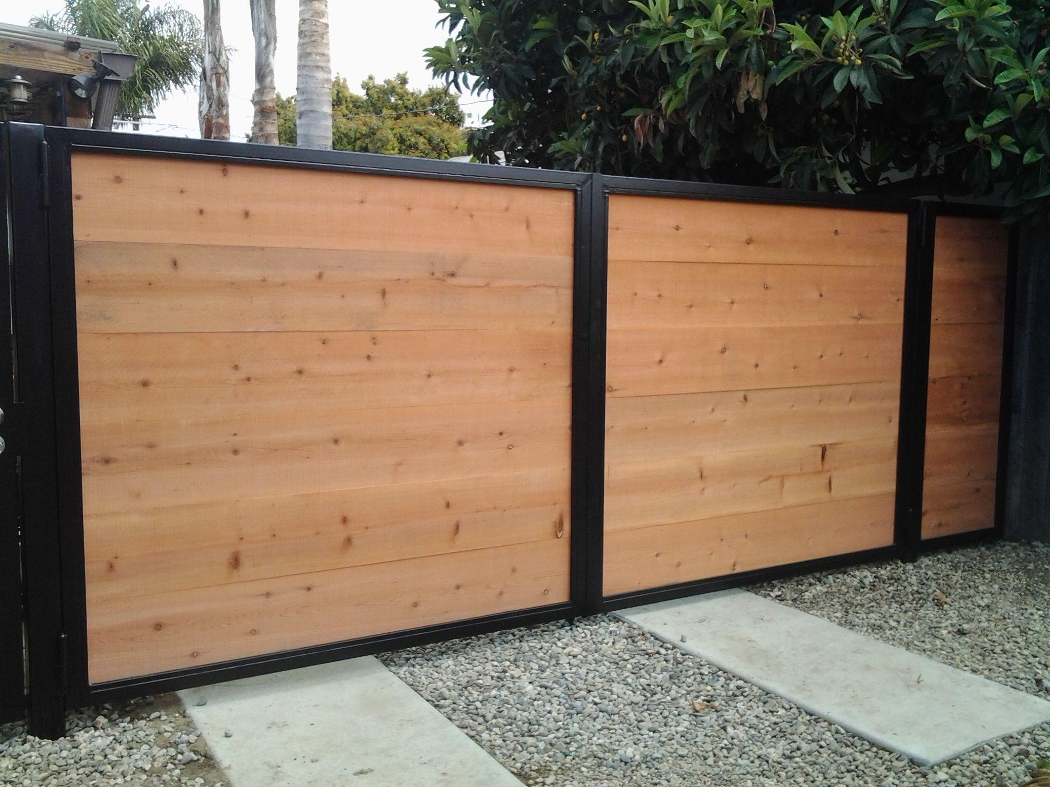Steel Framed Fences : Steel frame and redwood drive gate my work pinterest