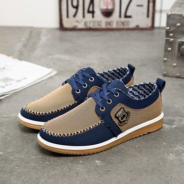 4a1536bc30e2 Mens Canvas Lace Up Flat Casual Shoes Loafers Sneakers - US 23.99 ...