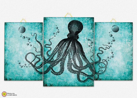 Octopus Triptych Canvas Panel Octopus Triptych Canvas Board Octopus Wall Art U2026