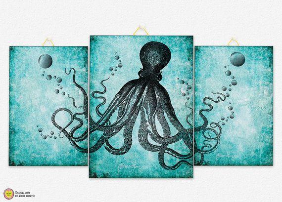 Octopus Triptych Canvas Panel Octopus Triptych Canvas Board Octopus Wall Art U2026