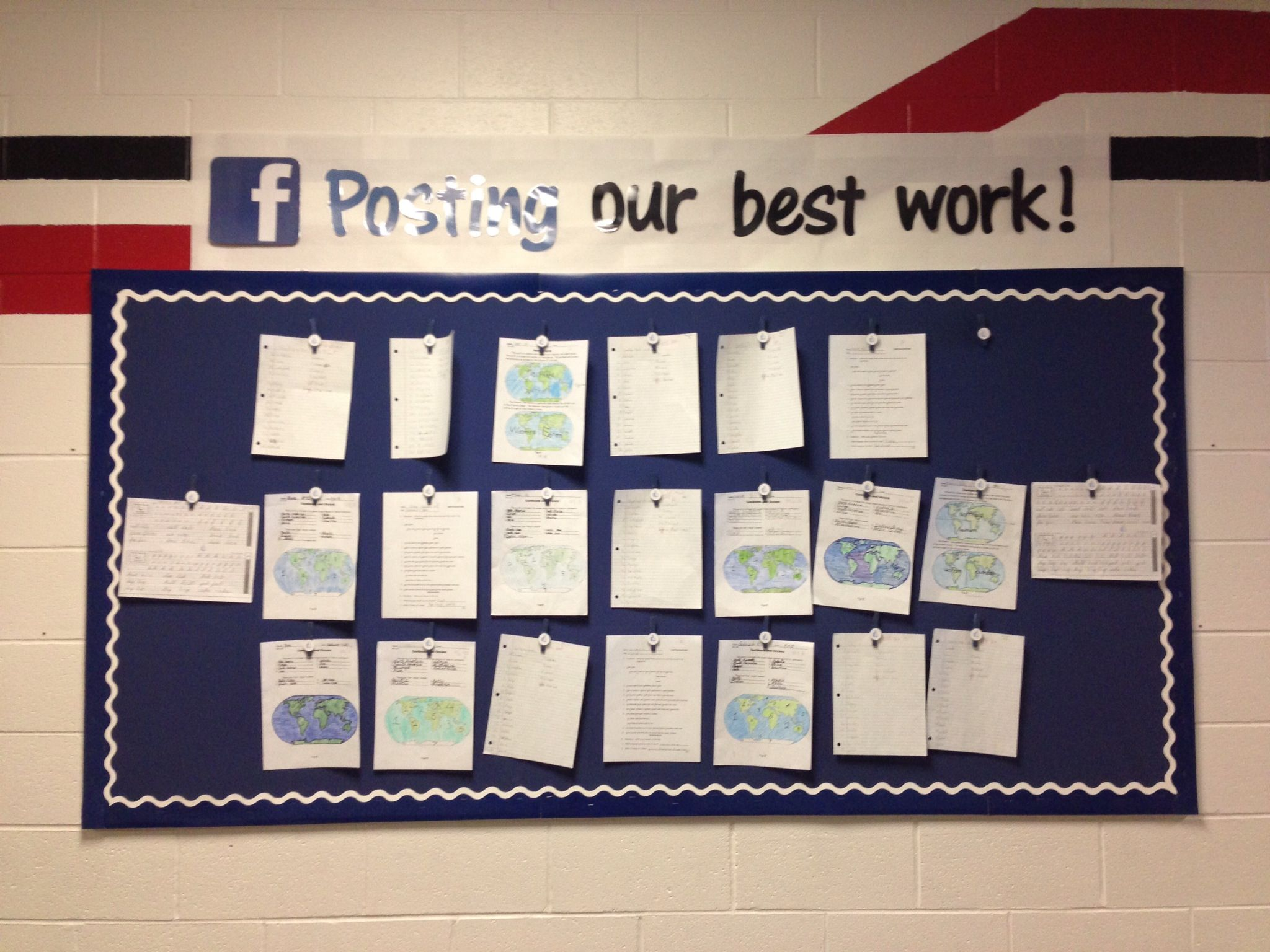 Bulletin board great way to display student work for Cork board displays