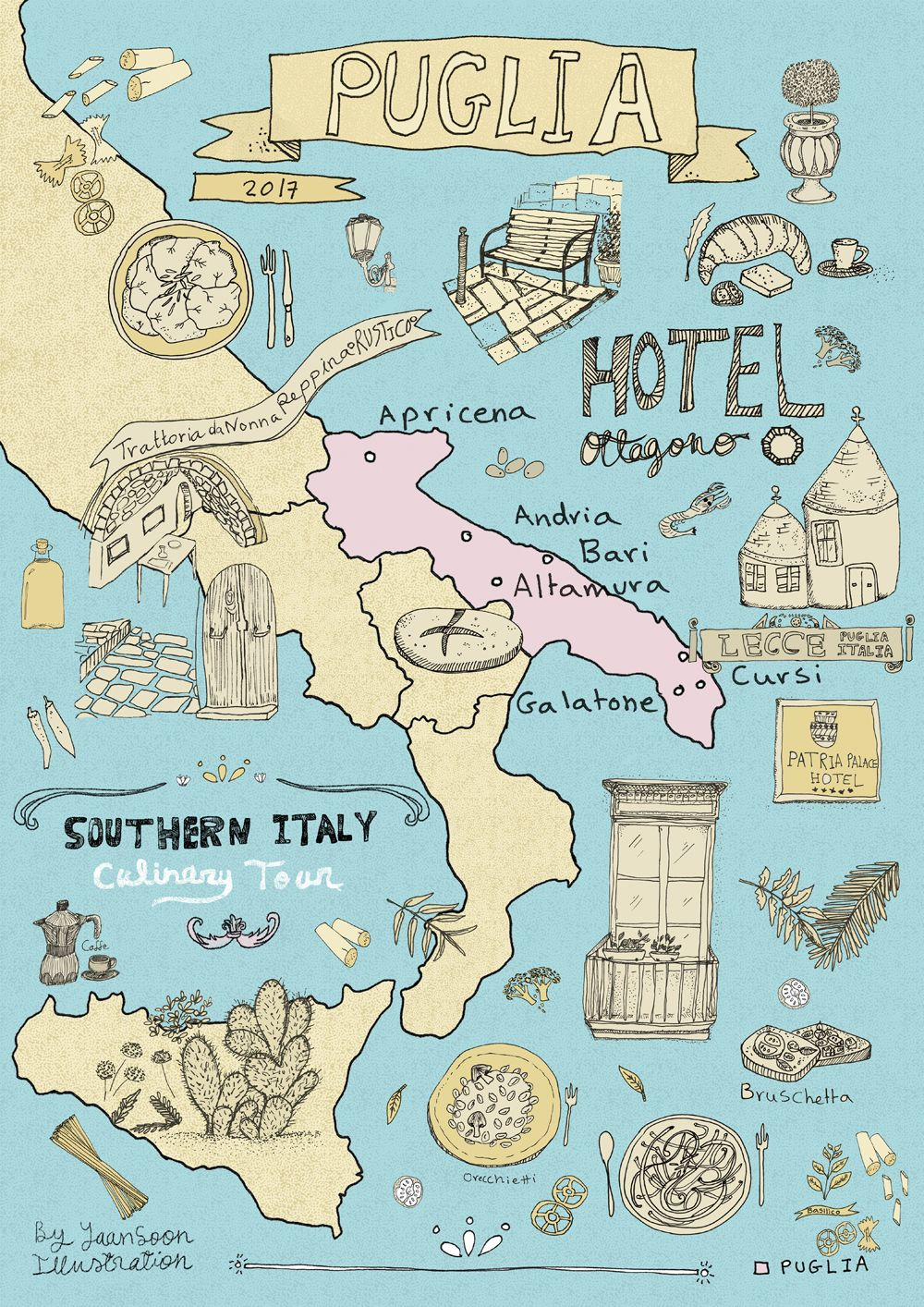 Italy Culinary Tour Illustrated Map of Puglia Travel illustration
