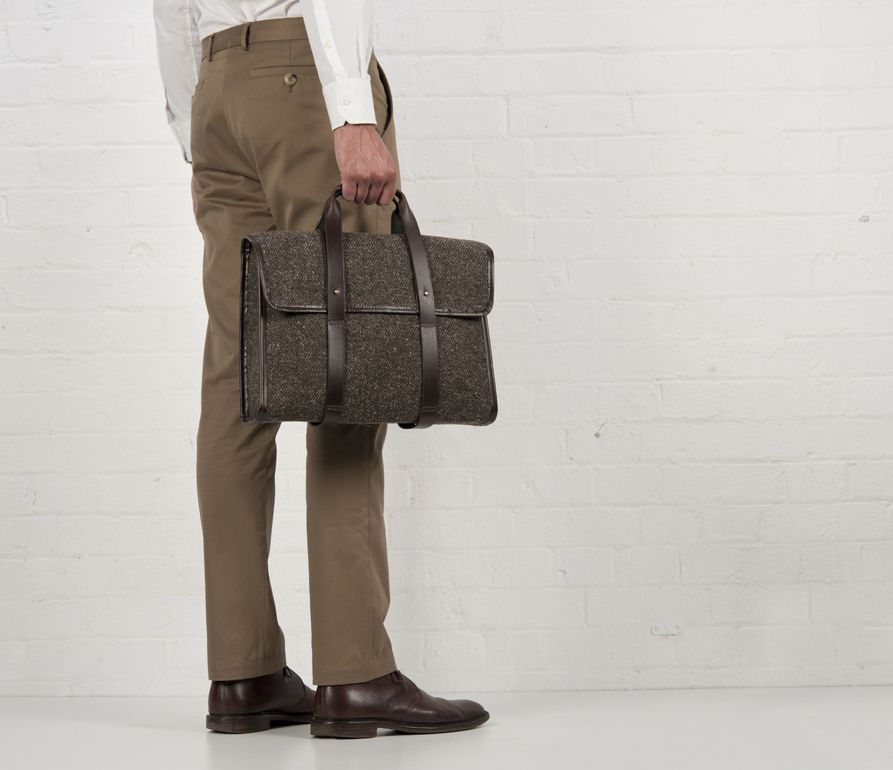Cherchbi Barrett Flap Briefcase, brown Herdwyck tweed