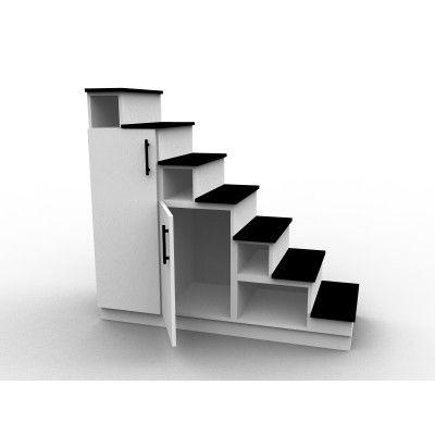 Meuble escalier mezzanine blanc et noir, modèle Eteya Projects to