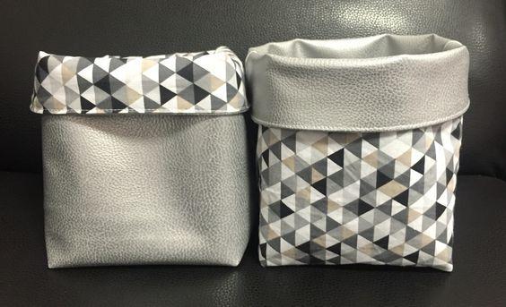 panier de rangement en tissus coton et simili cuir. Black Bedroom Furniture Sets. Home Design Ideas