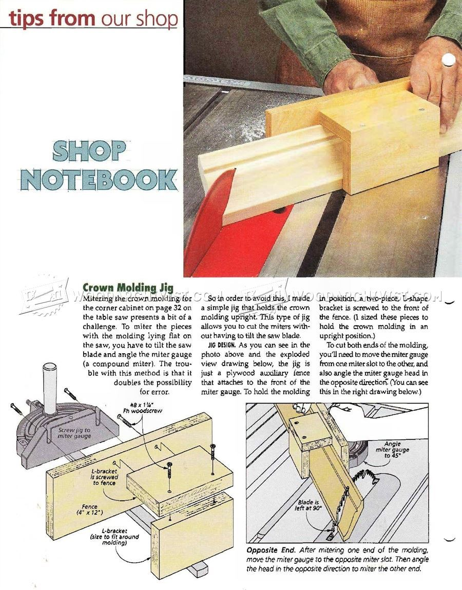 Crown molding jig furniture molding construction